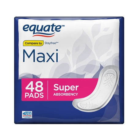 Equate Maxi Pads with Aloe, Moderate, Super, 48 Count