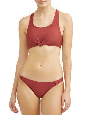 Juniors' Solid Knotted Racerback Swimsuit Top