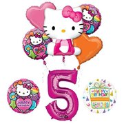 307d8ca3c Hello Kitty 5th Birthday Party Supplies and Balloon Bouquet Decorations