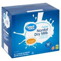 Great Value Instant Nonfat Dry Milk, 3.2 oz, 10 count