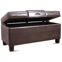 HomePop Leatherette Storage Bench with Wood Tray, Multiple Colors