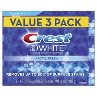 Crest 3D White Whitening Toothpaste, Arctic Fresh, Icy Cool Mint Flavor, 4.8 oz, Pack of 3