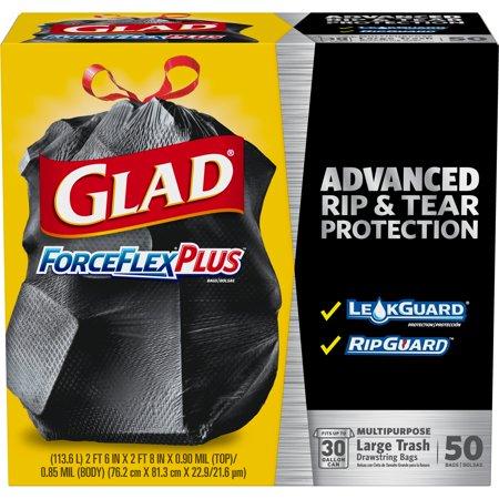 Large Poly Bags - Glad ForceFlexPlus Drawstring Large Trash Bags - 30 gal - 50 ct