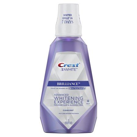 Crest 3D White Brilliance Alcohol Free Whitening Mouthwash, Clean Mint, 33.8 fl oz