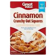 (3 Pack) Great Value Cinnamon Oat Crunch Whole Grain Oat Cereal, 18 oz