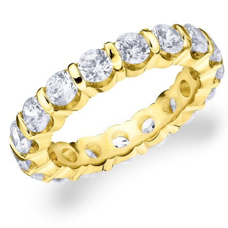 3 CT  Diamond Eternity Wedding Band in 14K Yellow Gold, 3.0 CT Round Diamond Anniversary Ring 14k Gold Diamond Wedding Ring