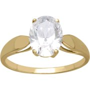 Believe by Brilliance Oval-Cut Solitaire CZ 10kt Yellow Gold Engagement Ring, Size 7