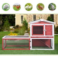 "Jaxpety 61"" Wood Chicken Coop Rabbit Hutch Hen House Poultry Pet Cage, Red"