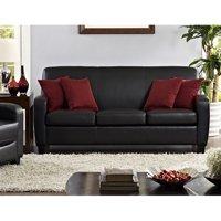 Mainstays Faux Leather Sofa, Black