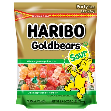Haribo Gold-Bears Sour Original Gummi Candies Party Size, 25.6 Oz.
