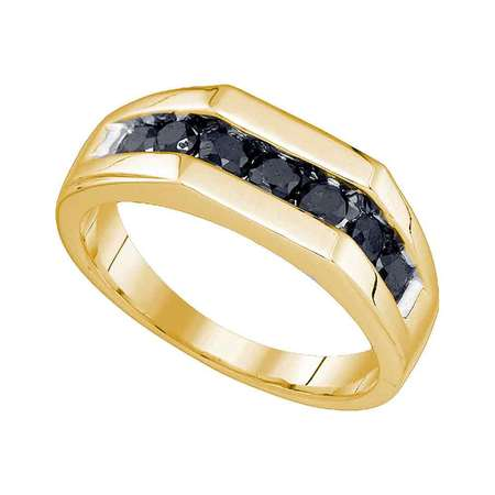 Size 10 - 10k Yellow Gold Mens Round Black Diamond Band Wedding Anniversary Ring 1.00 Cttw