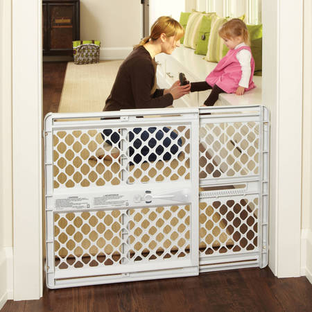 North States Supergate Classic Gray Easy Use Baby Gate, 26''-42''](Blue Baby Game)