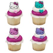 820446342de3 12 Hello Kitty Happy Everything Cupcake Cake Rings Birthday Party Favors  Toppers