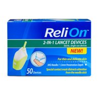 (2 Pack) ReliOn 30 Gauge Needle 2-In-1 Lancing Device, 50 Ct