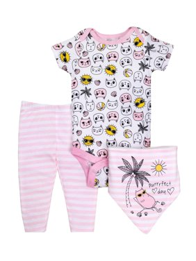 Little Star Organic Baby Girl Bodysuit, Pants, & Bandana Bib, 3Pc Outfit Set