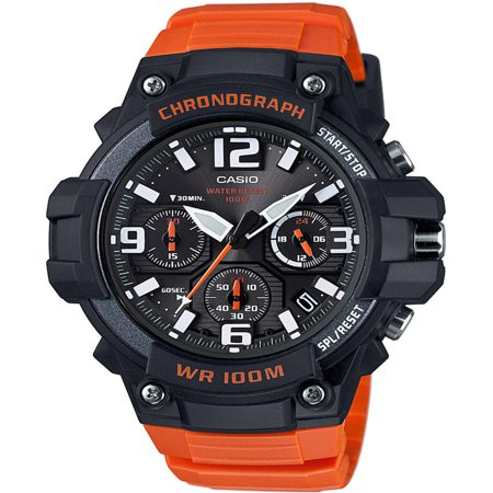 Men's Black/Orange Chronograph Watch, Resin Strap, - Orange Face Watch