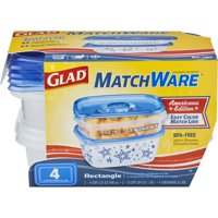 (2 pack) Glad Food Storage Containers, MatchWare Rectangle, Two 32-oz, Two 64-oz