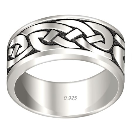 Men's 0.925 Sterling Silver Irish Celtic Knot Wedding Ring Band