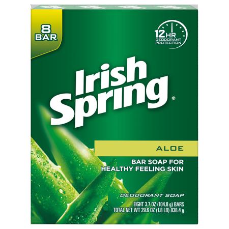 Irish Spring Aloe Vera Bar Soap, 3.7 Ounce, 8 Bar Pack