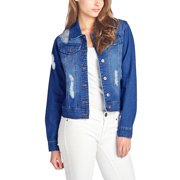 1d69e3accb7421 Womens Distressed Button Up Cropped Denim Jean Jacket JK4001-S-Dark Blue.  Product Variants Selector. Price