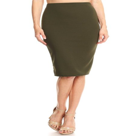 Khaki Pencil Skirt - Women's Knee Length Solid Pencil Skirt