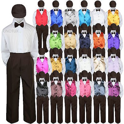 23 Color Vest Brown Bow Tie Hat Pants Boys Baby Toddler Formal Suits 5pc Set S-7 - Doc Brown Outfit