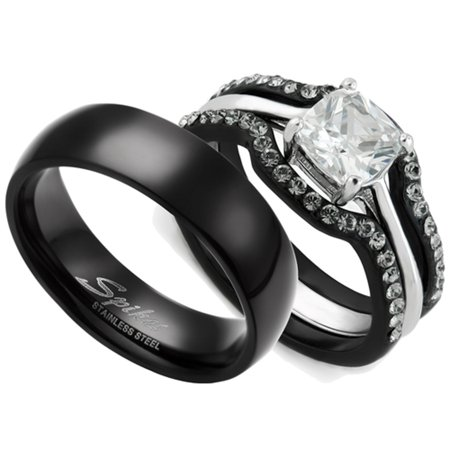 HIS & HERS 4PC BLACK STAINLESS STEEL WEDDING ENGAGEMENT RING & CLASSIC Band SET Women's Size 10 Men's 06mm Size
