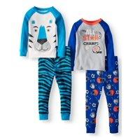 Wonder Nation Cotton Tight Fit Pajamas, 4-piece Set (Toddler Boys)