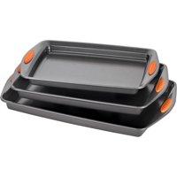 Rachael Ray Nonstick Bakeware 3pc Cookie Pan Set, Gray w/ Orange Grips
