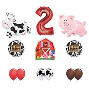Barn Farm Animals 2nd Birthday Party Supplies Cow Pig Balloon Decorations