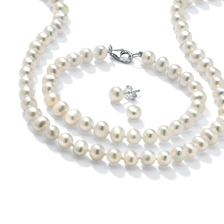3 Piece Cultured Freshwater Pearl Necklace Bracelet and Earrings Set in Sterling (Akoya Pearl Jewelry Set)
