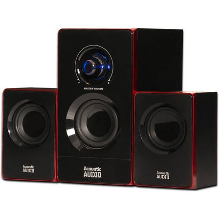 2 Piece Multimedia Speaker (Acoustic Audio AA2103 Bluetooth Multimedia 2.1 Home Theater Computer Speaker System)