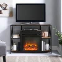 """Manor Park 60"""" Rustic Urban Industrial X-Frame Open Shelf Fireplace - Multiple Finishes"""