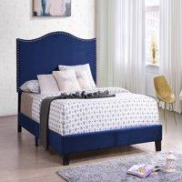 Skye Upholstered Panel Bed, Blue Velvet, Full, With Solid Wood Legs, Nailhead Headboard, Footboard, Rails, Slats
