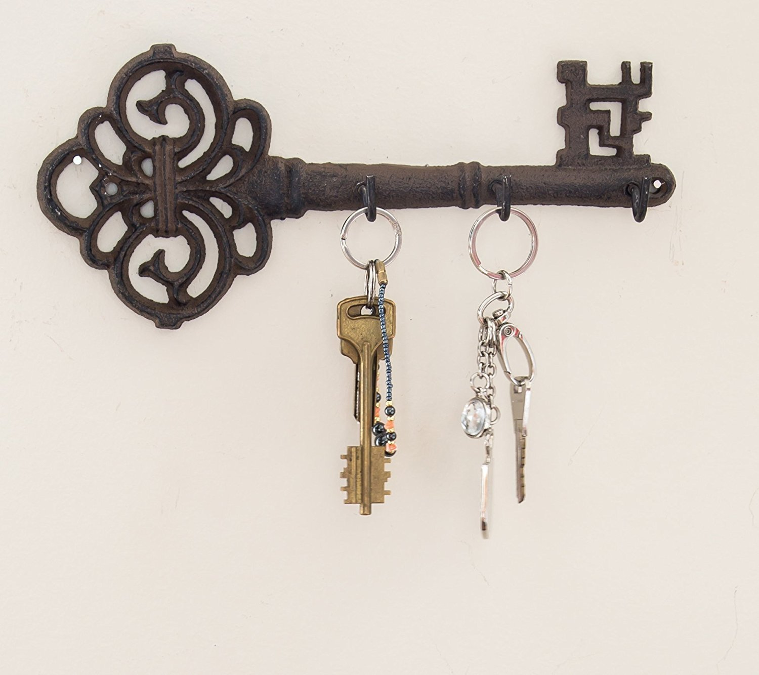 Decorative Wall Mounted Key Holder Vintage Key With 3 Hooks Wall Mounted Rustic