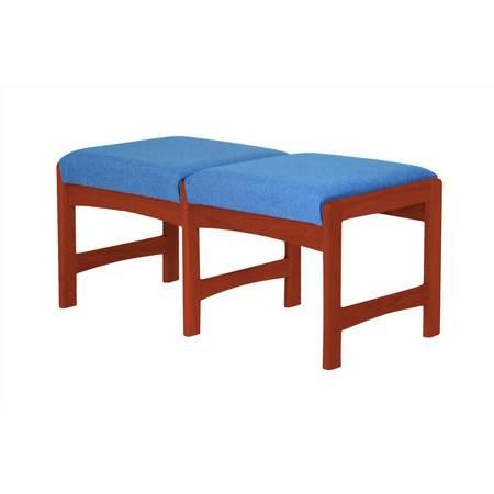 Dark Mahogany Island - Upholstered Solid Wood Double Bench w Dark Red Mahogany Finish (Watercolor Green)