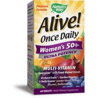 Nature's Way Alive! Women's 50+ Ultra Potency Complete Multi-Vitamin Supplement Tablets, 60 Count