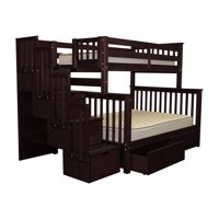 Bedz King Stairway Bunk Beds Twin over Full with 4 Drawers in the Steps and 2 Under Bed Drawers, Cappuccino