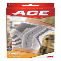 ACE Knitted Compression Knee Brace featuring Side Stabilizers, Large, White/Gray, 1/pack