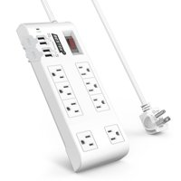 Power Strip Surge Protector with USB by BESTEK, Multi Plug Outlet with 8-Outlet 4 USB Charging Ports (QC3.0) and 6-Foot Long Flat Plug Extension Cord, 900 Joule, ETL Listed