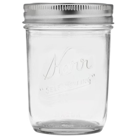 Kerr Glass Mason Jar w/Lid & Band, Wide Mouth, 8 Ounces, 12 Count