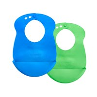 Tommee Tippee Easi Roll Baby Bib, 7+ months - Blue and Green, 2 Count