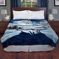 Lavish Home Heavy Thick Plush Mink Blanket, Wolf
