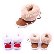 Kacakid Newborn Infants Toddler Girls Winter Baby Shoes Warm First Walker Antislip Boots Shoes