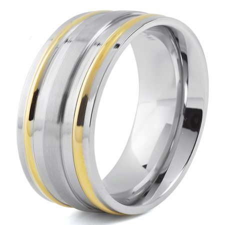 Stainless Steel Two Tone Ring - Two Tone Stainless Steel Brushed and Gold Grooved Ring (7mm)