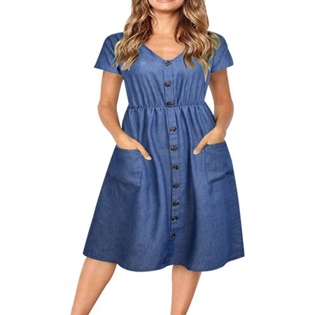 Front Denim Mini Dress - JustVH Women's V-Neck Casual Decorative Button Swing Midi Dress with Pockets