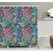 Paisley Decor Shower Curtain Set Ornate Traditional Elements With Original Ethnic Details Bohemian Style