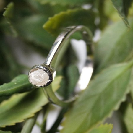 Elegant Bezel Set 2 Carat Raw Rough White Diamond Solitaire Engagement Ring in 18k Gold Over Silver