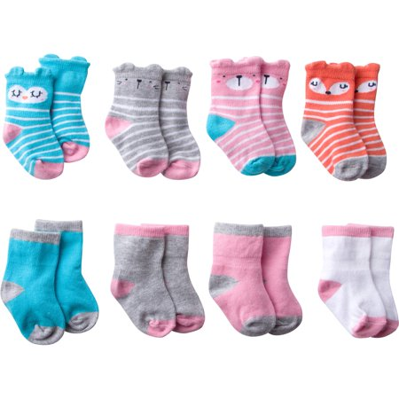 Gerber Baby Girl Wiggle-Proof Jersey Ankle Bootie Socks, 8-pack ()