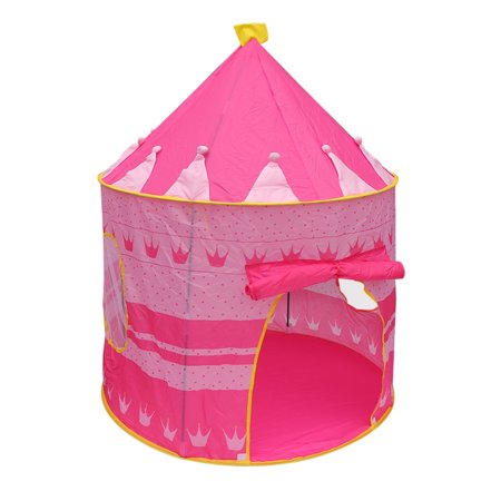 Children Play Princess Tent Pink - Tent for Girl Castle for Indoor/Outdoor Use With Glow in the Dark Stars Foldable with Carry Case -